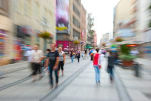 People walking on a street motion blur