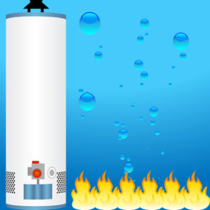 A boiler water heater, water droplet, and a flame.