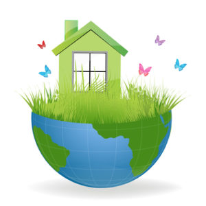illustration of green house on half earth with colorful butterflies