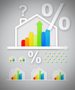 Energy efficient house graphics with question and percentage marks against grey background