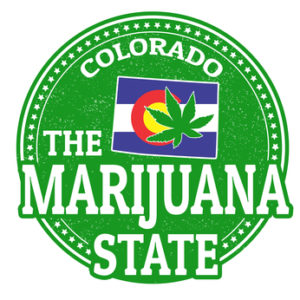 The marijuana state, Colorado grunge rubber stamp, vector illustration