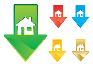 Housing market price drop concept vector illustration