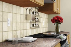 Kitchen interior closeup with red roses and dishes