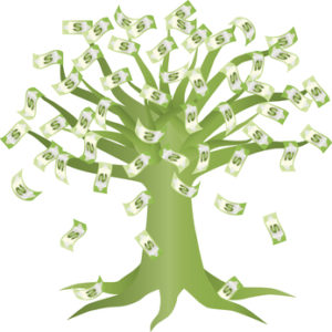 Money Growing on Green Tree Illustration Isolated on White Background