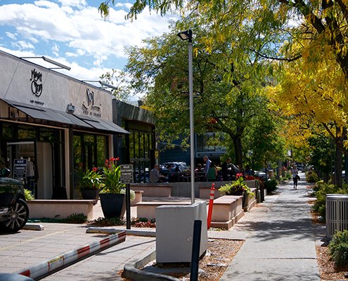 Sidewalk shops in Cherry Creek Country Club Denver.