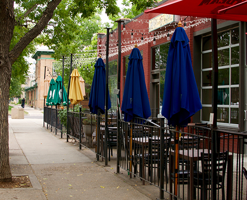 Restaurant sidewalk patio in City Park Denver.