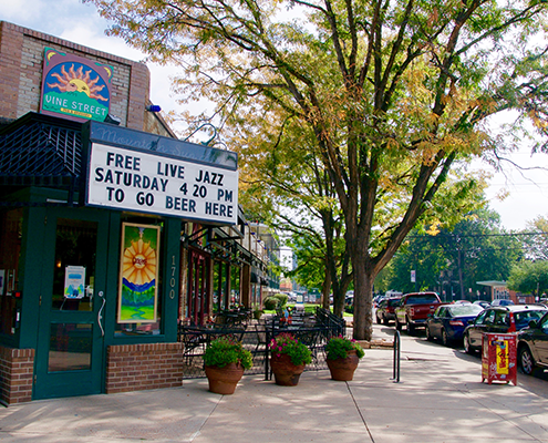 Free live jazz show venue sign and sidewalk entrance in City Park Denver.