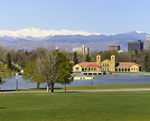 Denver City Park Golf Course with boathouse and lake.