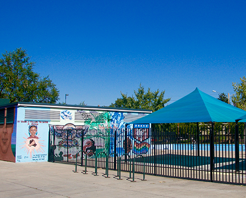 Pool and building mural in Five Points-Curtis Park Denver.