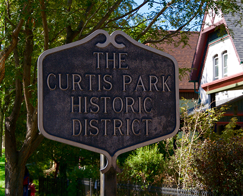 Historic Curtis Park District sign.