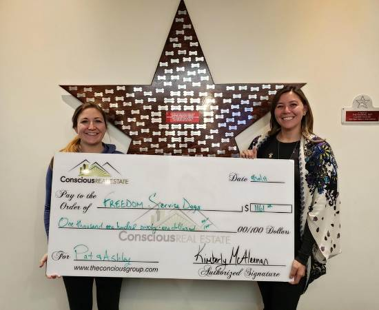 Kimberly McAleenan realtor for Conscious Real Estate donates to Freedom Service Dogs
